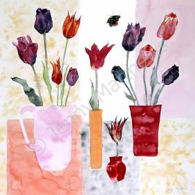 Tulips with Red Admiral print