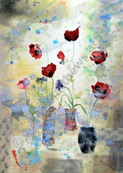 Batik and Ladybird Poppies: 52 x 38cm, watercolour on paper, framed price £1,200