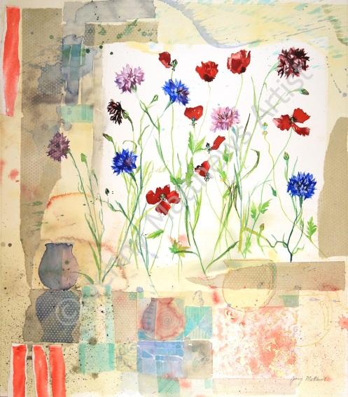 Garden Still Life 53 x 48 cm, watercolour on paper, framed selling price £1,650.