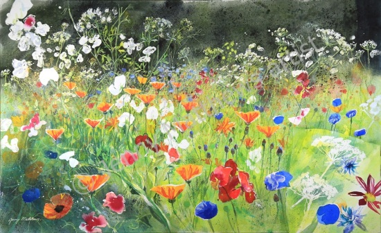 Fabulous Flowers, 68 x 112 cm, watercolour on paper, framed selling price £3,400 SOLD