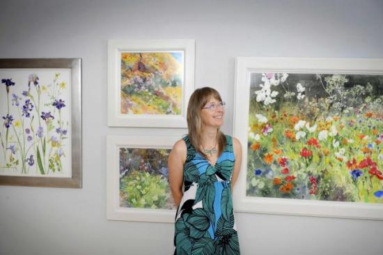 Jenny with some of her paintings  in UNIONgallery, Edinburgh