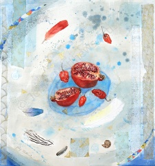 Blue Dish 50 x 50cm, watercolour on paper, framed selling price £1,500