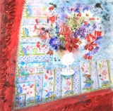 Batik with Scarlet Border: 80 x 74cm, watercolour on paper, framed price £2,850