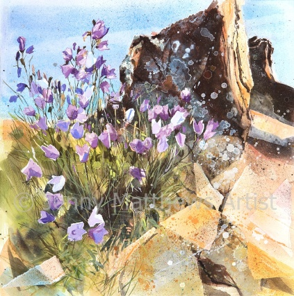 Bluebells at Eyemouth: 50 x 50cm, watercolour on paper, framed price £1,500 SOLD