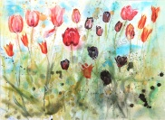 Spring Tulips: 55 x 75cm, watercolour on paper, framed price £1,850