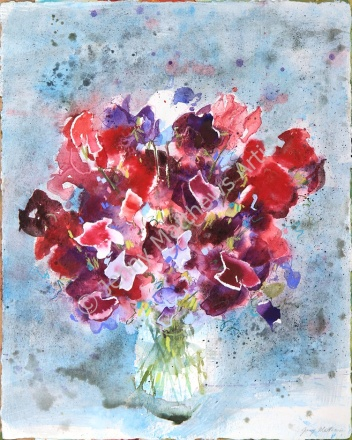 Sweet Pea Bouquet: 40 x 30cm, watercolour on handmade paper, framed price £850 SOLD