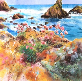 Thrift at St Abbs, 50 x 50cm, watercolour on paper, framed price £1,500