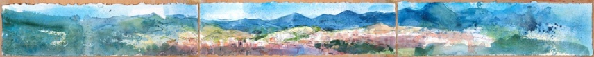 Fabriano, Marche, Italy, 15 x 156cm (triptych), watercolour on paper, framed price £1,650