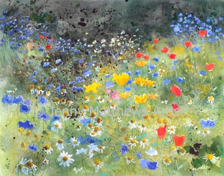 Meadow, 80 x 100cm, watercolour/collage on paper, framed price £3,500 SOLD
