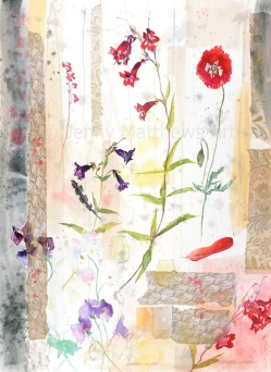 Penstemon Still Life, 75 x 55cm, watercolour/collage on paper, framed price £1,850