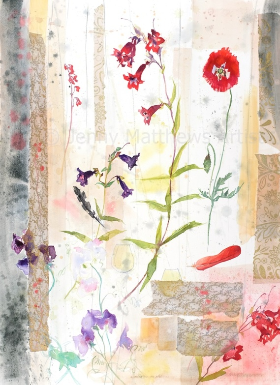 Red Feather, 75 x 55cm, watercolour/collage on paper, framed price £1,850