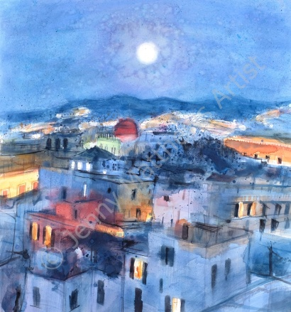 Roman Rooftops: July Night, 76 x 70cm, watercolour on paper, framed price £2,200