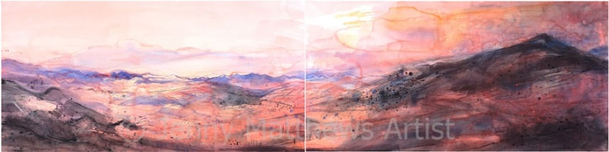 Umbrian Landscape, Dusk, 70 x 280cm (diptych), watercolour on paper, framed price £6,000