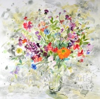 Anne's Flowers, 80 x 80cm, watercolour on paper, framed price £2,650