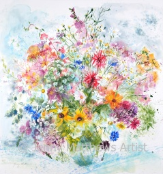 Bouquet from Catherine, 78 x 73cm, watercolour on paper, framed price £2,450 SOLD
