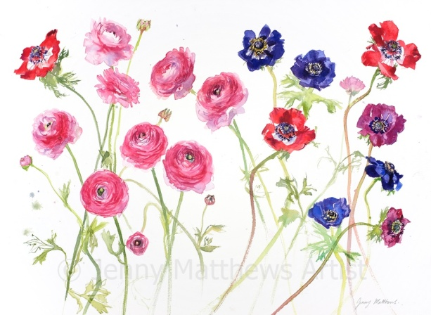 Flowers from Gail, 55 x 75cm, watercolour on paper, framed price £2,100