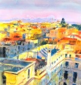 Golden Afternoon, Rome 76 x 7ocm, watercolour on paper, framed price £2,250