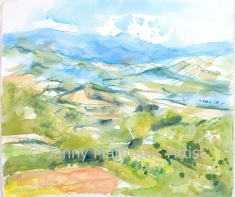 Looking West from Frontone, Italy 48 x 55cm, watercolour on paper, framed price £1,250