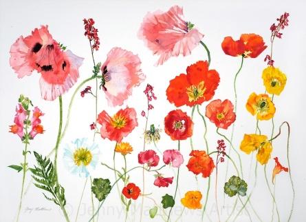 Orange Poppies, 55 x 75cm, watercolour on paper, framed price £2,100