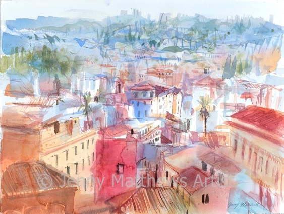 Roman Rooftops I, 30 x 40cm, watercolour on paper, framed price £825 SOLD