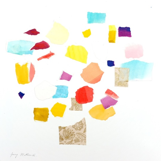 From Catherine: Impression, 37 x 37cm, watercolour and collage on paper, framed price £850 SOLD