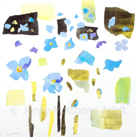 Himalayan Poppies I, 50 x 50cm, watercolour collage on paper, unframed price £1200
