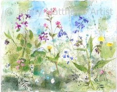 Wild Hedgerow, 40 x 50cm, watercolour and collage on paper, unframed price £1,150