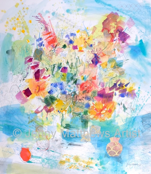 Borders Flowers, 75 x 65cm, watercolour on paper, framed price £2,150
