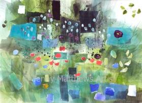 Autumn Garden, 56 x 76cm, watercolour collage on paper, framed price £1,850