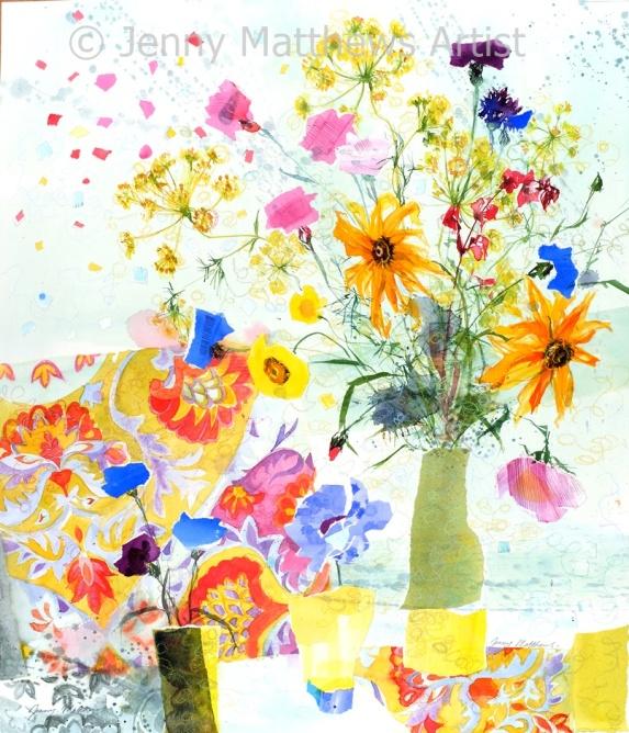 Deep Purple Cornflower, 63 x 56cm, watercolour collage on paper, framed price £1,850