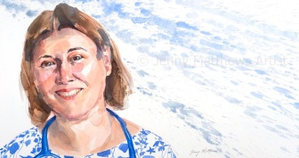 Dr. Bryony Price is a GP in Loughborough. 26 x 50cm, watercolour on paper.