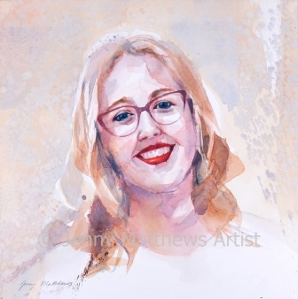 Dr. Zoe Puyrigaud graduated from Dundee University School of Medicine in June 2019 and currently works at Glasgow Royal Infirmary. 35 x 35cm, watercolour on paper.