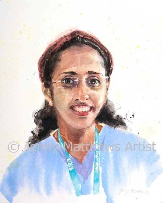 Ansu, ICU nurse, 35 x 30cm, watercolour on paper.