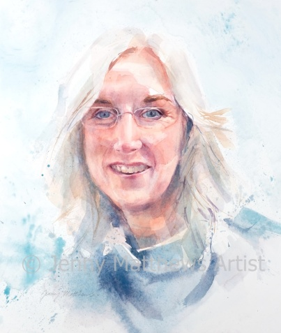 Dr. Sally Hemmens, 35 x 30cm, watercolour on paper.