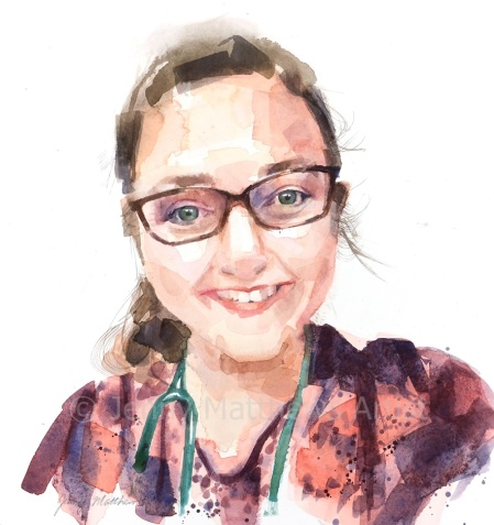 Dr. Siobhian Moores, 35 x 30cm, watercolour on paper.