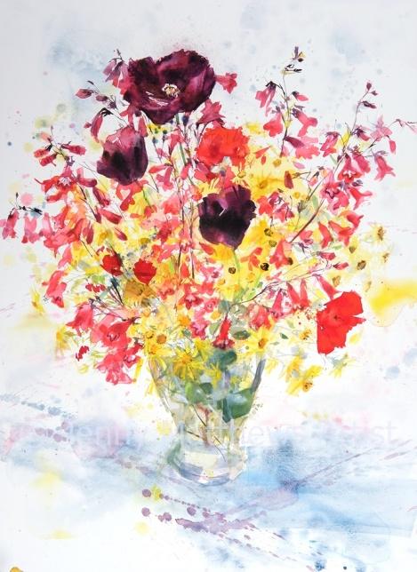 Random Bouquet, 76 x 56cm, watercolour on paper, framed price £1,850